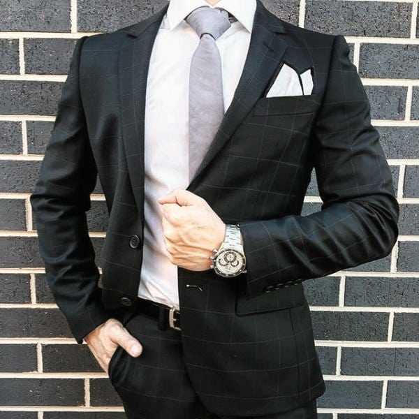 Guys Fashion Ideas Black Suit Styles With White Pocket Square