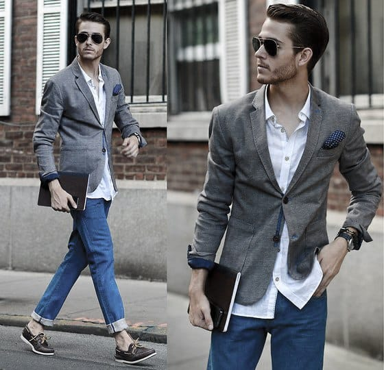 Guys Fashion Ideas How To Wear Boat Shoes Outfits Styles Grey Blazer With White Dress Shirt