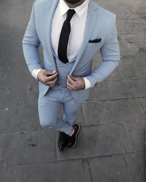Guys Fashion Ideas Navy Light Baby Blue Suit Black Shoes Styles