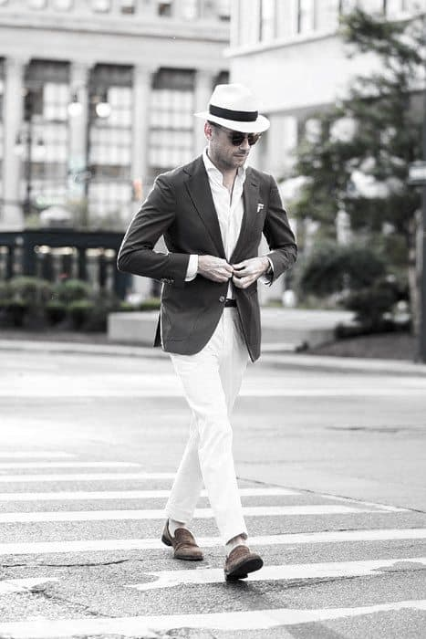 Guys Fashion Ideas What To Wear With White Jeans Blazer And Hat