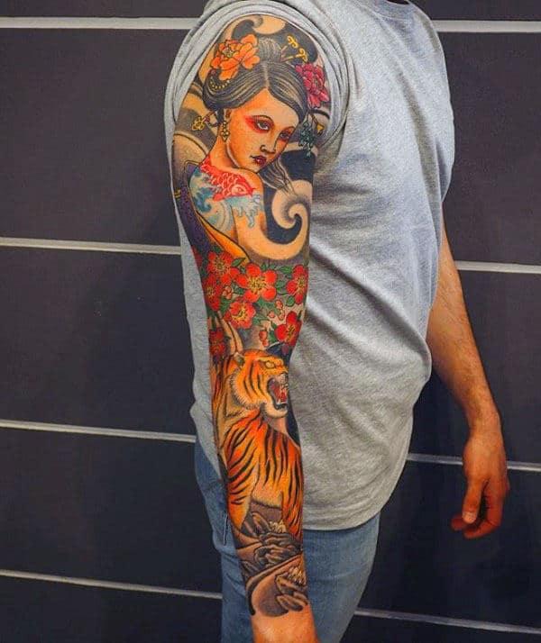 Guys Female Portrait Japanese Tiger Full Sleeve Tattoo