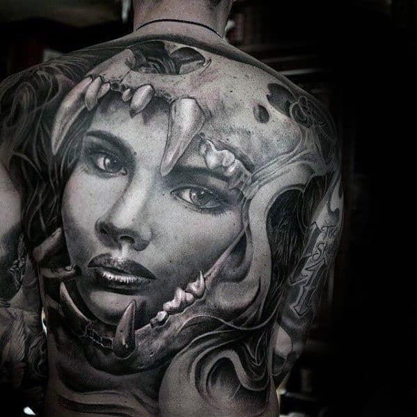 Guys Female Portrait Lion Skull 3d Full Back Tattoo