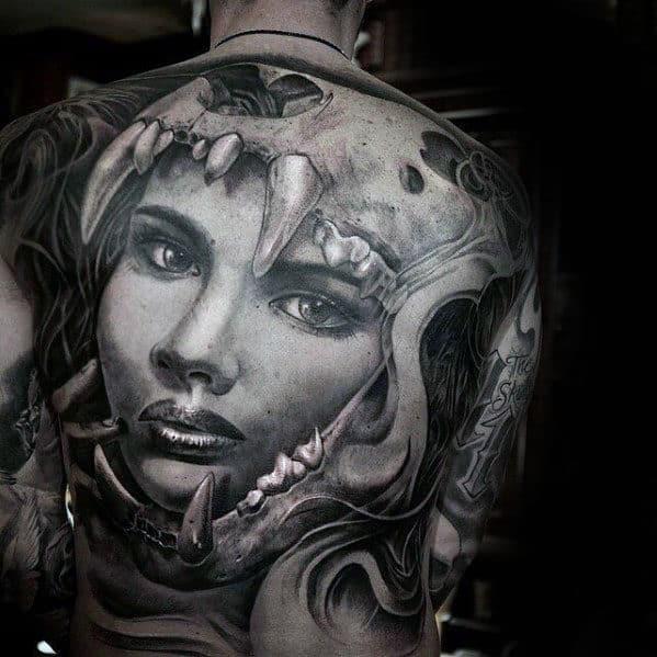 Guys Female Portrait Lion Skull 3d Full Back Tattoo