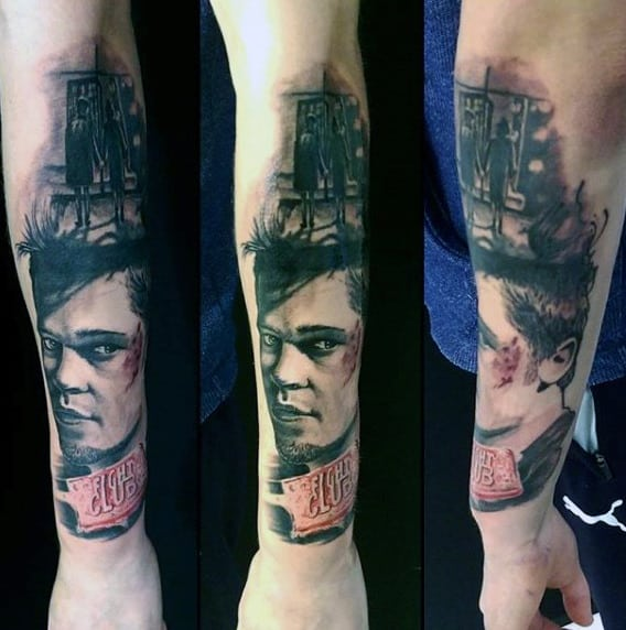 Guys Fight Club Tyler Durden Forearm Tattoo Designs