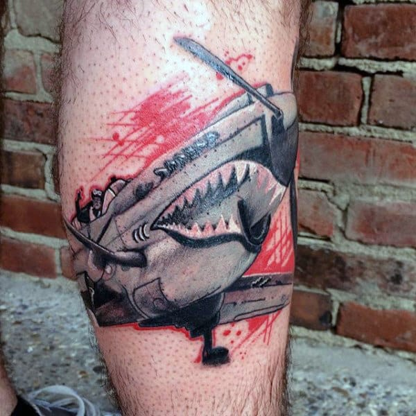 Guys Fighter Plane Ww2 Leg Tattoos