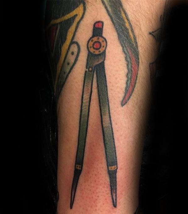 Guys Filler Compass Tool Forearm Tattoo