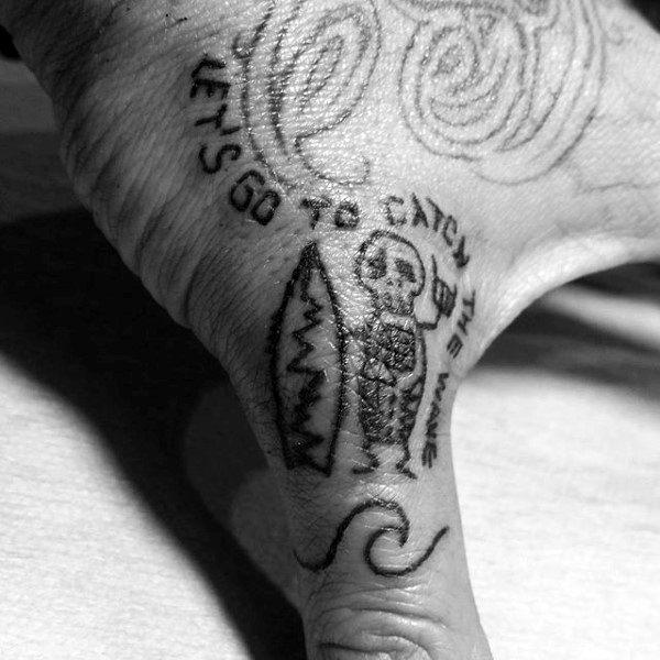 Guys Fingers Tiny Black Skeleton Surf Tattoo