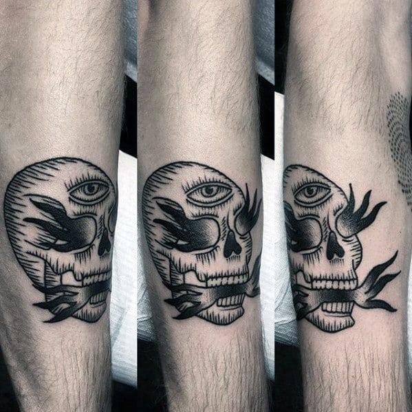 Guys Flaming Skull Tattoo Deisgns Small Leg Ideas
