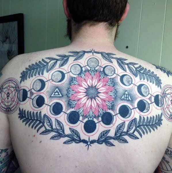 Guys Floral Back Moon Phase Tattoo
