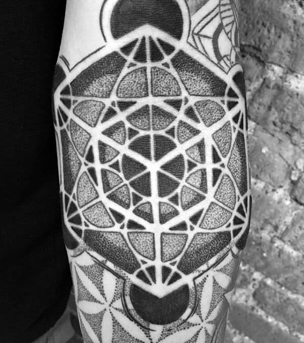 Guys Flower Of Life Geometric Circular Ditch Tattoo