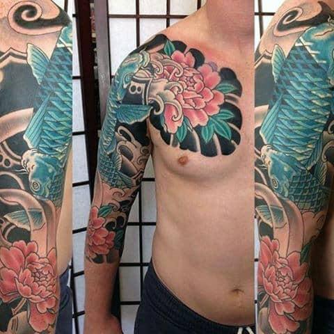 Guys Flower With Blue Koi Fish Japanese Tattoo Half Sleeve