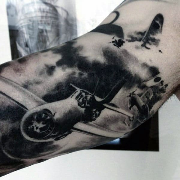 Guys Flying Bomber Plane Army Tattoo On Bicep