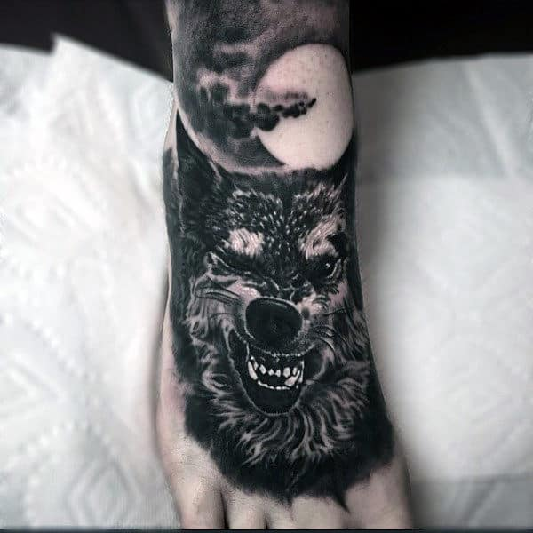 Guys Foot Moonlit Beast Tattoo
