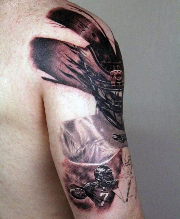 Guys Football Player Half Sleeve Tattoo Designs