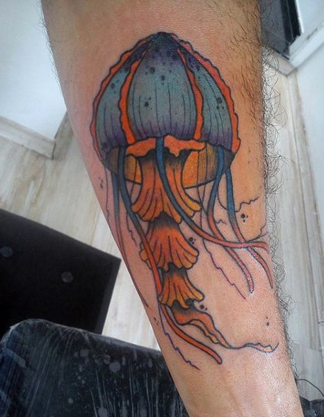 Guys Forarms Blue Orange Jellyfish Tattoo