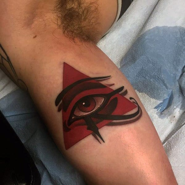 Guys Forearm 3d Eye In Red Triangle Tattoo