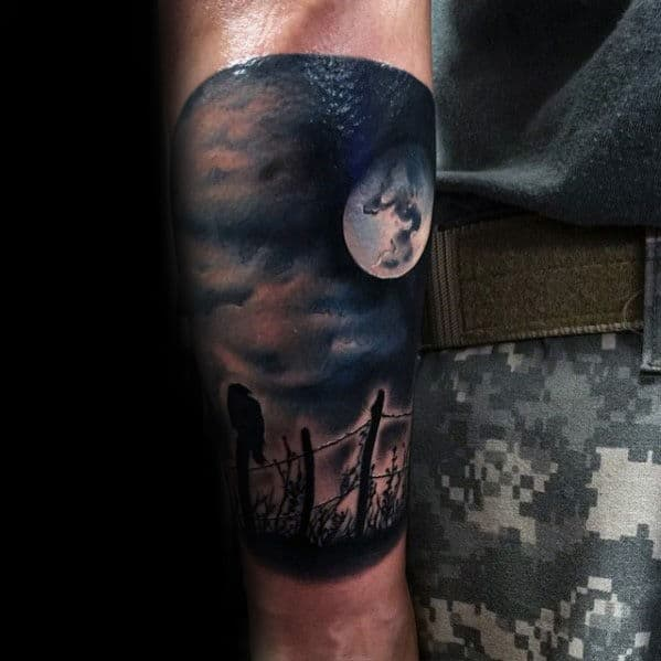 Guys Forearm Crow On Fence With Moon Realistic Sleeve Tattoo