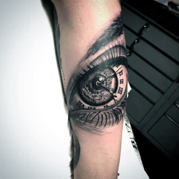 Guys Forearm Eye Tattoo With Roman Numeral Tattoo