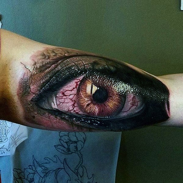 Guys Forearm Eye With Red Nerve Endings Tattoo
