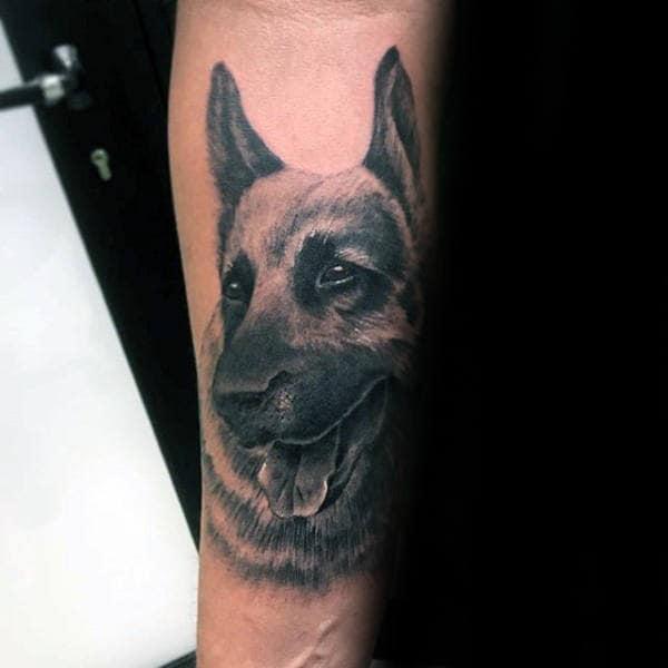 Guys Forearm German Shepherd Dog Tattoo Design Inspiration