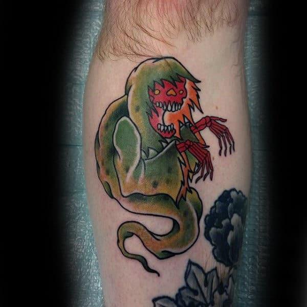 Guys Forearm Green Halloween Ghost Tattoo