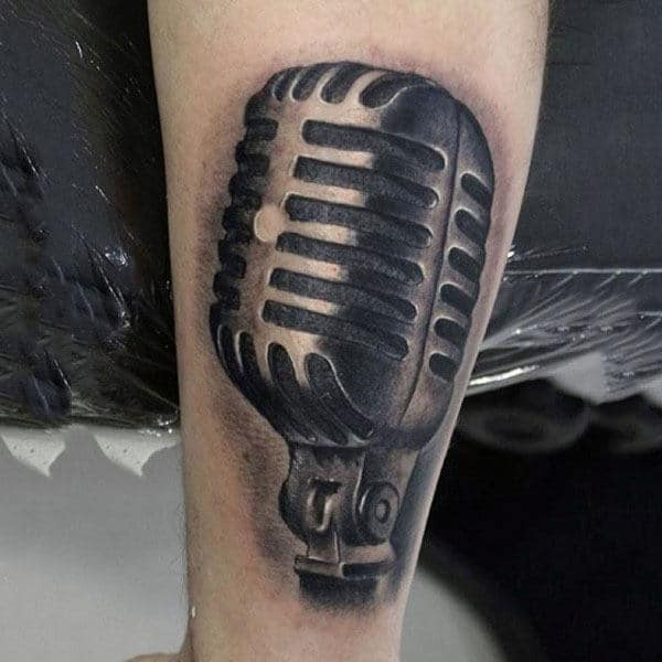 Guys Forearm Heavy Microphone Tattoo