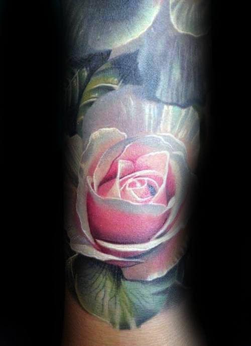 Guys Forearm Realistic Pink And White Rose Flower Tattoo
