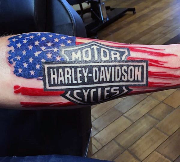 Guys Forearm Sleeve Harley Davidson Bar And Shield Tattoos