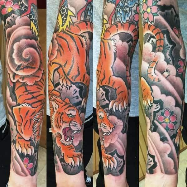 guys-forearm-sleeve-japanese-tiger-tattoos