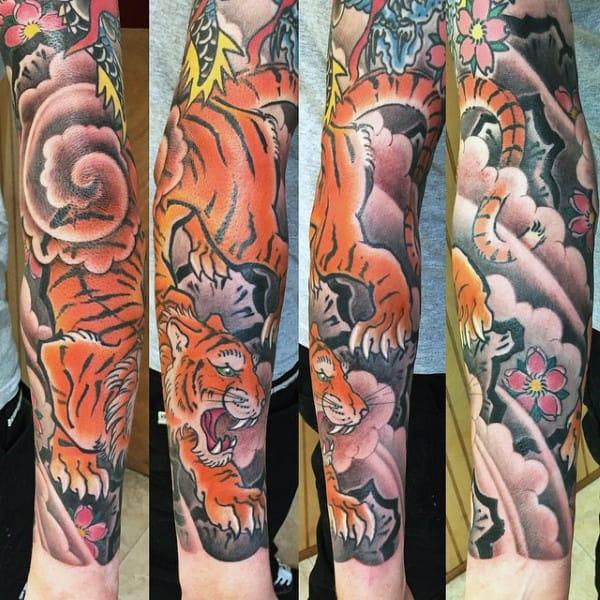 Guys Forearm Sleeve Japanese Tiger Tattoos
