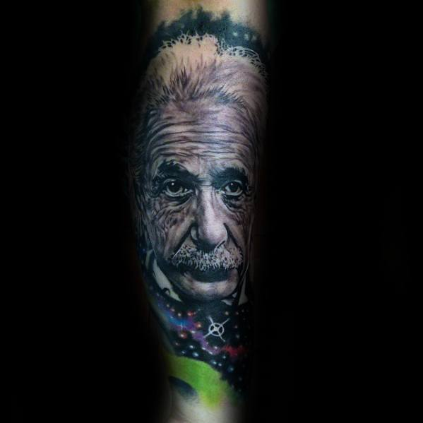 Guys Forearm Sleeve Tattoo Ideas Albert Einstein Designs
