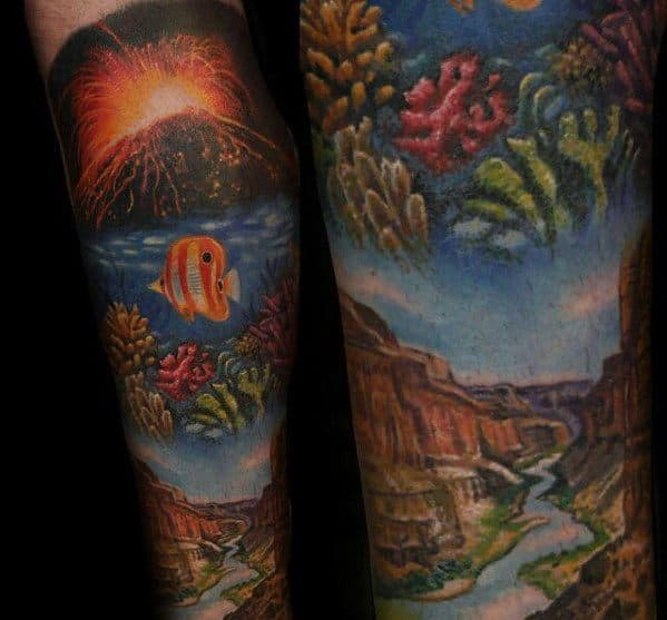 Guys Forearm Sleeve Volcano Tattoo Design Ideas