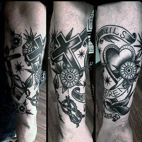 Guys Forearm Sleeve With Heart And Cross Traditional Tattoo Designs