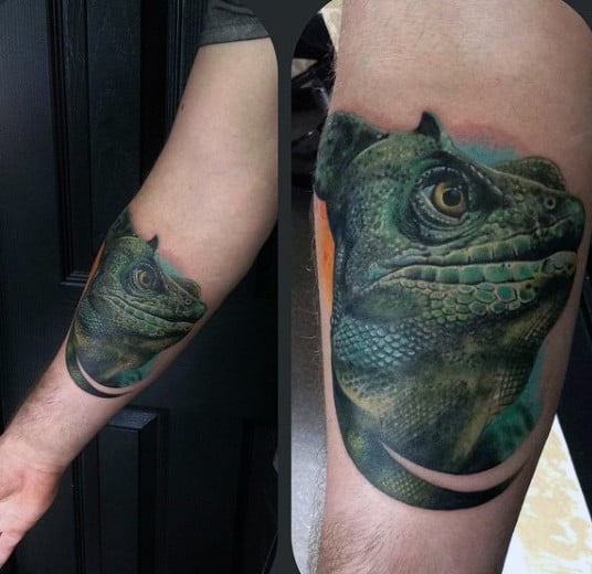 Guys Forearm Stern Bottle Green Lizard Tattoo