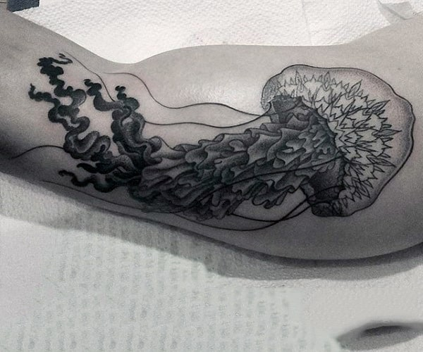 Guys Forearm Wonderful Black And Grey Jellyifish Tattoo