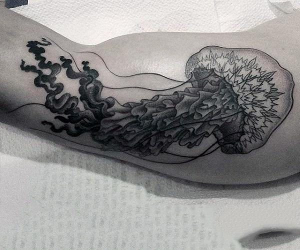 Guys Forearm Wonderful Black And Grey Jellyifish Tattoo