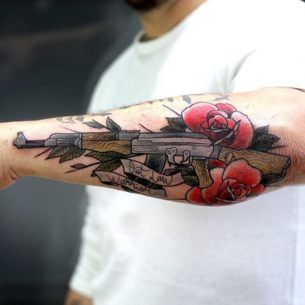 Guys Forearms Ak 47 And Florals Tattoo