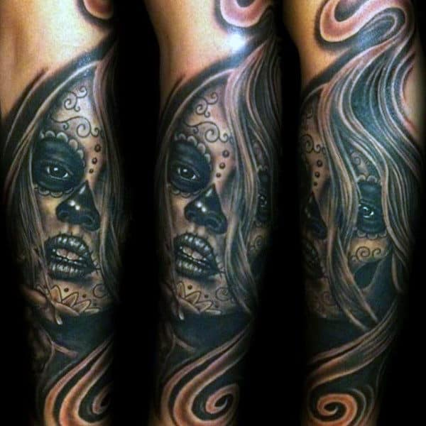 Guys Forearms Amazing Black Shaded Day Of The Dead Tattoo