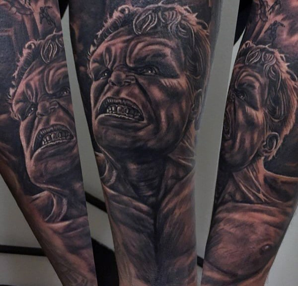 Guys Forearms Amazing Grey Hulk Tattoo