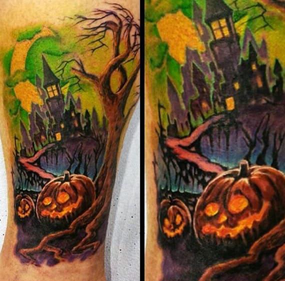 80 Halloween Tattoo Designs For Men - Ghoulish Grandeur