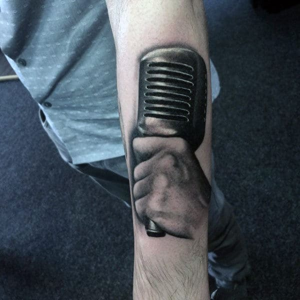 Guys Forearms Black And Grey Tattoo Of Hand Holding Mic