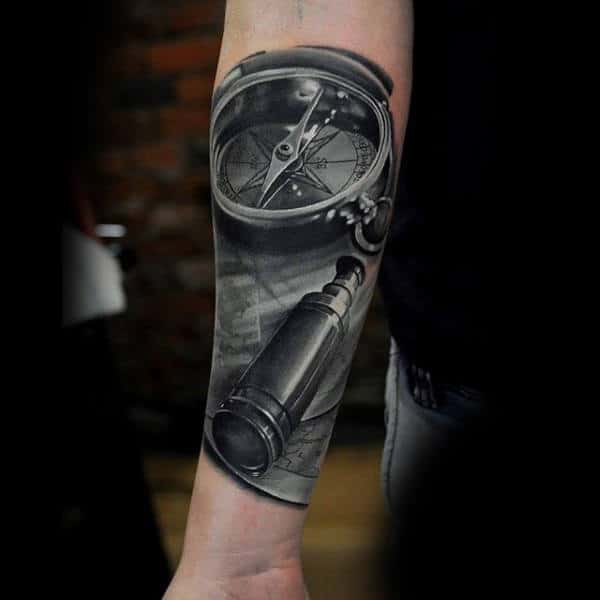 Guys Forearms Black And White Compass And Telescope Tattoo