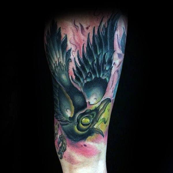 Guys Forearms Black Bird New School Tattoo