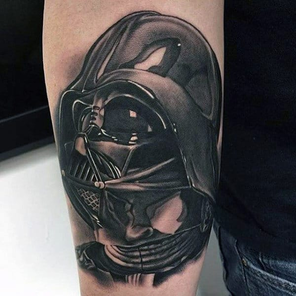 Guys Forearms Black Grey Star Wars Tattoo