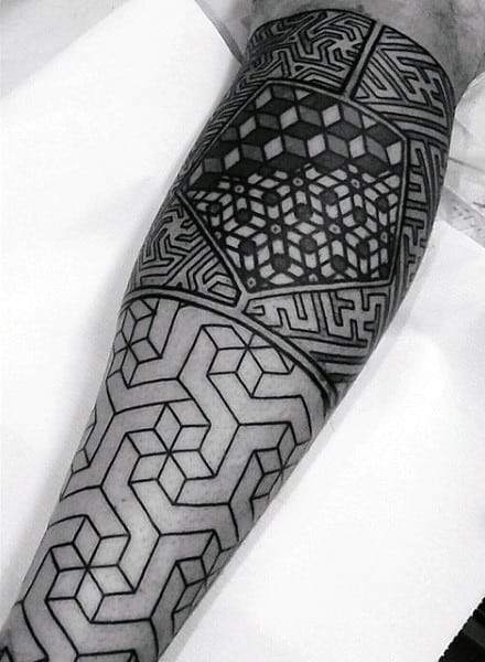 Guys Forearms Black Patterned Tattoo