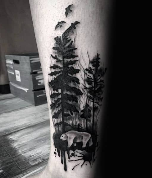 Guys Forearms Black Watercolor Tree And Beast Tatto