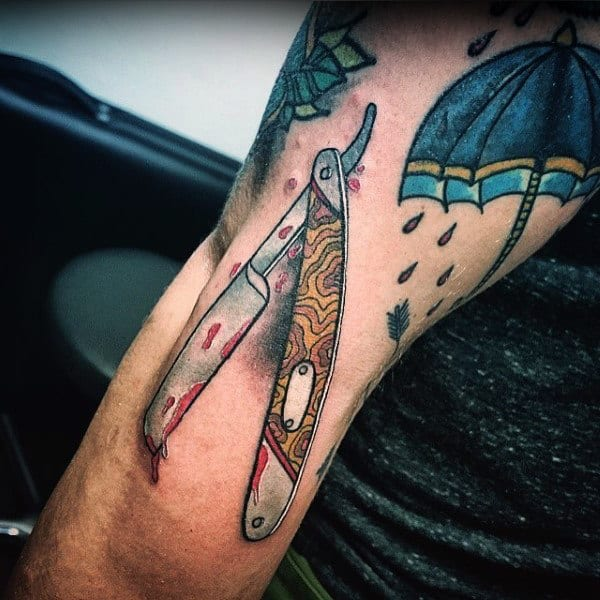 Guys Forearms Blood Stained Straight Razor Tattoo