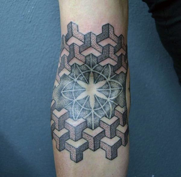 Guys Forearms Blossom And 3D Cubes Dotwork Tattoo