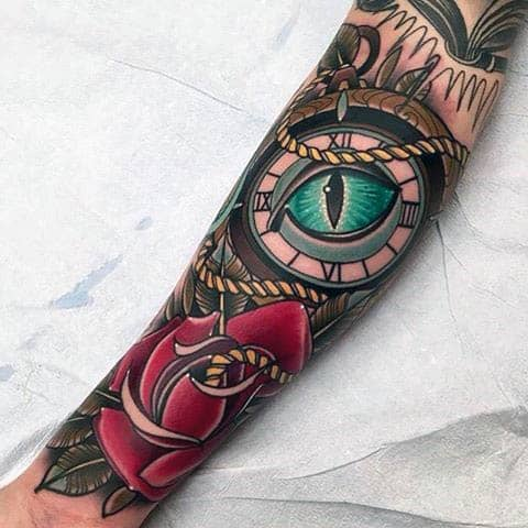 guys-forearms-blue-eye-and-rose-neo-traditional-tattoo