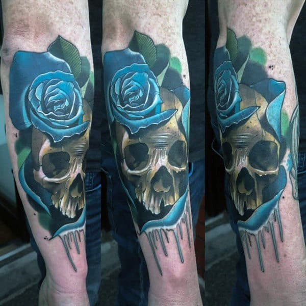 Guys Forearms Blue Rose And Skull Tattoo